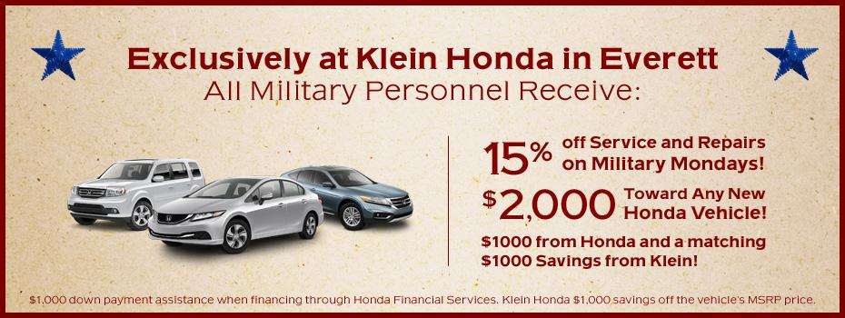 Klein Honda will be offering an additional $1,000 to military personnel, as well as exclusive service and maintenance specials.